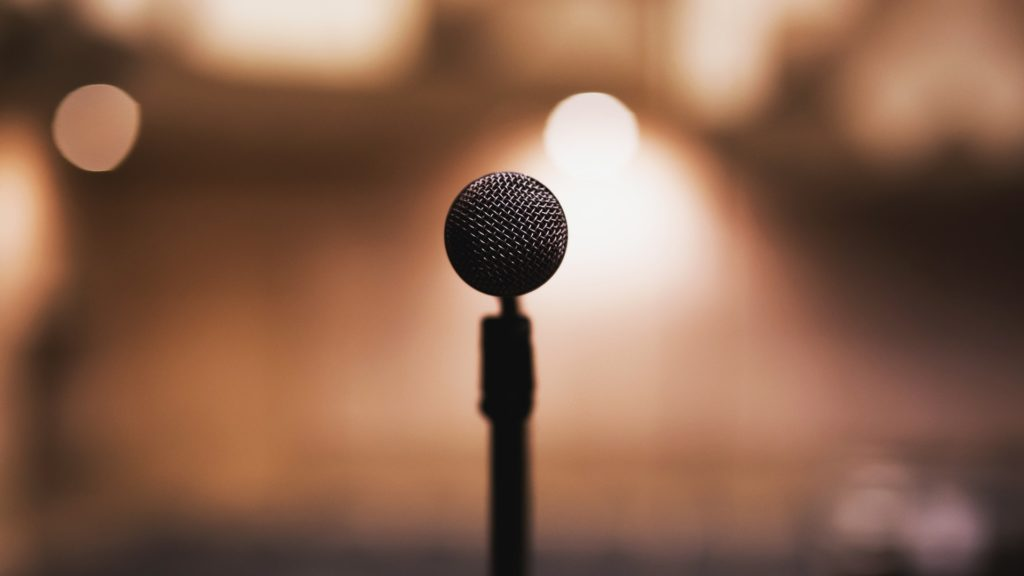 Microphone for speech, with blurred background