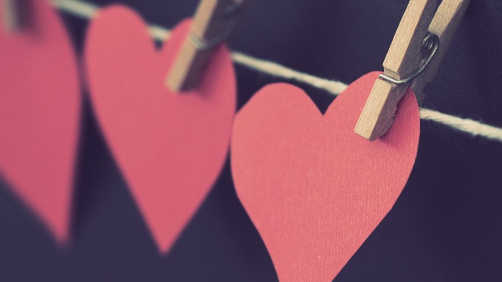 Paper Hearts on Clothesline